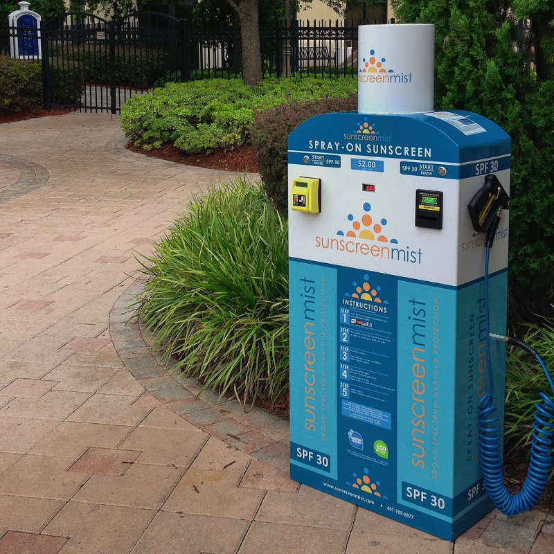 sunscreen spray vending machine at resort